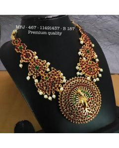 Red & Green Stones With Pearls Chutty Peacock Design Necklace For Bharatanatyam Dance And Temple Buy Online