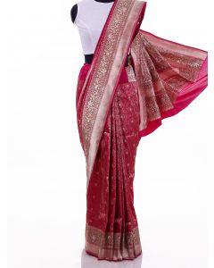 Dark Pink Pure Banarasi Silk Woven Saree with Dull Gold Zari Border By Asopalav