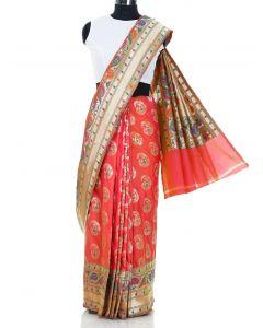 Peach South Silk Multi Colored Floral Woven Saree By Asopalav