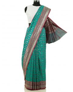 Dark Green South Silk Checks Saree with Zari Weaving By Asopalav
