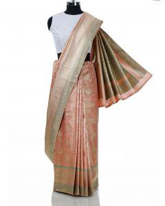 Peach Banarasi Silk Saree with Zari Woven Floral Jaal By Asopalav