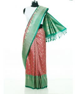 Pink and Green Banarasi Silk Saree with Zari Woven Floral Jaal By Asopalav
