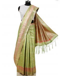 Light Green Silk Saree with Zari Woven Floral Jaal By Asopalav