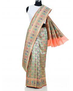Golden Banarasi Silk Multicolored Floral Woven Saree with Peach Highlights By Asopalav