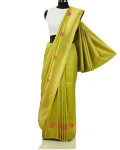 Light Green South Silk Saree with Floral Weaving Border By Asopalav