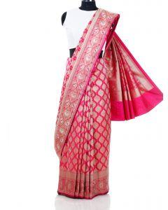 Dark Pink South Silk Saree with Lotus Motif Woven Border By Asopalav