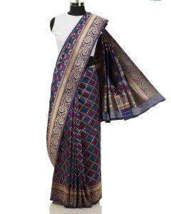 Navy Blue Silk Saree with Floral Weaving Border By Asopalav