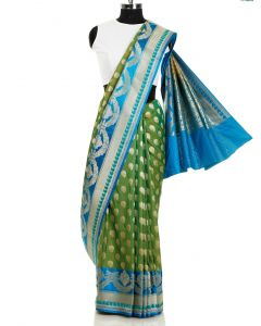 Green and Blue Silk Saree with All Over Weaving and Zari Border By Asopalav