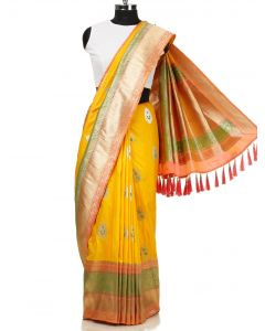 Yellow Silk Saree with Weaving Butta and Tassels By Asopalav