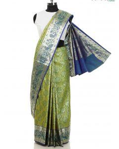Green Silk Woven Saree with Peacock Motif By Asopalav