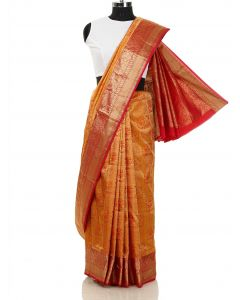 Mustard South Silk Saree with Deers and Floral Weaving By Asopalav