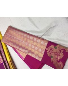Pure Kanchipuram Silk Rich Gold Zari Broad Border Saree
