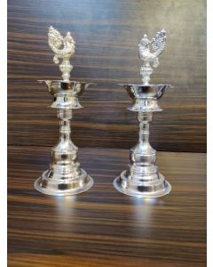 Pair 8 Inch German Silver Washable Deepam | Lamps