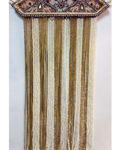 Sehra With All Zarkan  White  Maroon And Golden Pearls With Ik Omkar Made On It 1