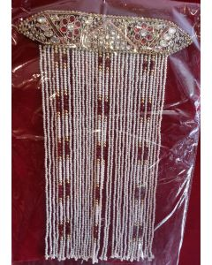 Sehra With Golden  Maroon And Cream Pearls With Flowers Design 1