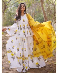 Off White Cotton Indo Western Mughal Floral Printed Suit with Peplum Top