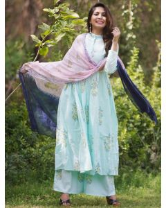 Light Sky Blue Cotton Anarkali Floral Printed Palazzo Suit