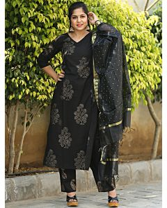 Black Cotton Printed Suit with Block Print