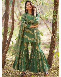 Dark Green Cotton Printed Sharara Suit with Khadi Print