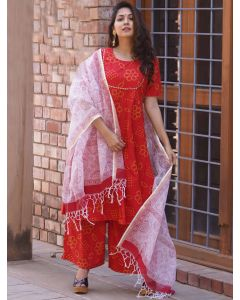 Red Cotton Bandhej Palazzo Suit with Gota Patti Lace