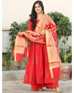 Red Cotton Khadi Printed Palazzo Suit with Banarasi Dupatta
