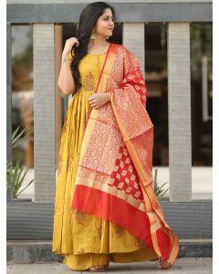Yellow Cotton Block Printed Anarkali Palazzo Suit with Banarasi Dupatta