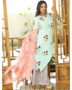 Sky Blue Cotton Straight Cut Printed Palazzo Suit with Bell Sleeves