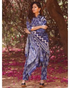 Blue Cotton Block Printed Straight Cut Suit with Pants