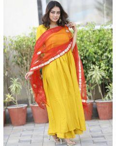 Yellow Rayon Plain Anarkali Palazzo Suit with Gota Patti Worked Dupatta