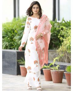 Off White Cotton Straight Cut Palazzo Suit with Floral Print