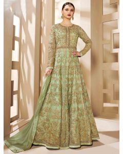 Sage Green Net Designer Embroidered Anarkali Suit with Stone