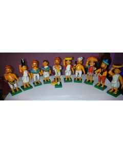 True Facility Hand Crafted - Kondapalli Toys - Beautiful Village Couples Set of 6 pairs Total 12 Nos.  Size H 12 x W 3 x L 5 Cms