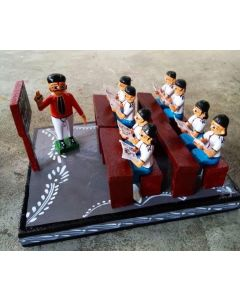 True Facility Hand Crafted - Kondapalli Toys - Beautiful School Teacher with eight Children .  Size H 6 x W 8 x L 10 Inches.