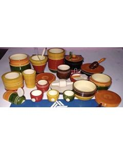 True Facility Wood Kondapalli Handicraft - Crafts of Andhra Pradesh Multicolor Indian Kitchen Set (22 Pieces)