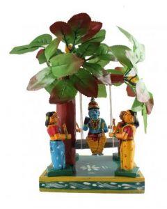True Facility Hand Crafted - Kondapalli Toys - Lord Krishna with 4 Gopikas