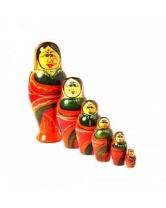 True Facility Hand Crafted - Wooden Etikoppaka Indian Women Figurine (Set of 6) Size L 15 CMS X W 6 CMS.