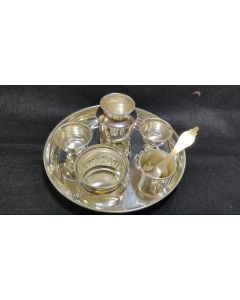 Full Set  Impressive Imported German Silver Washable Plate With German Silver Washable Pooja Thali.