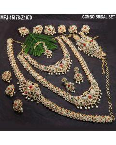 Australian Whitered Green Stones With Perls Peacock Design Gold Plated Full Bridal Set Buy Online12919