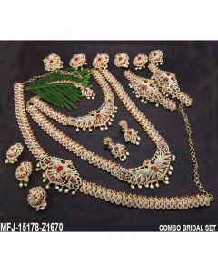 Australian Wight Red Stones With Perls Peacock Design Gold Plated Full Bridal Set Buy Online12919