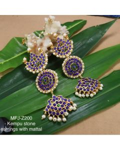 Blue Green Kempu Stones With Pearls Sunmoon Design Earings With Mattel For Bharatanatyam Dance And Temple Buy Online