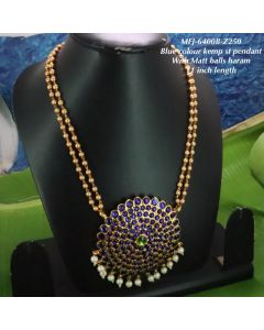 Bluegreen-Stones-With-Pearls-Matte-Two-Lined-Balls-Chain-Designed-Gold-With-Matte-Plated-Finish-Haram-Set-Buy-Online