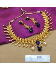 Blue Sapphire Stones Mat Finish Parrot Design With Pearls Drop Necklace Set Buy Online