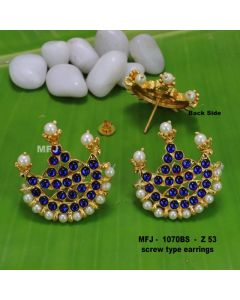 Bule Stones With Pearls Moon Design Screw Type Earrings For Bharatanatyam Dance And Temple Buy Online