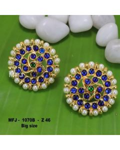 Bule Stones With Pearls Round Shaped Flower Design Earrings For Bharatanatyam Dance And Temple Buy Online
