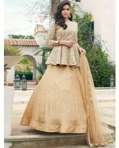 Cream Net Plain Flared Designer Lehenga Choli with Layered Sleeved Peplum Blouse