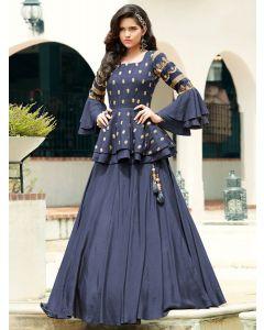 Blue Silk Plain Designer Lehenga Choli with Peplum Blouse
