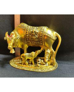 Cow & Calf Gold-(avvu and dhooda) with Krishna-7 inch- Gold