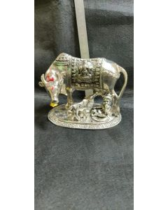 Cow & Calf Silver-(avvu and dhooda) 7 inch Copper coated - Silver