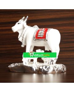 white silver Cow & Calf Gold-(avvu and dhooda) Medium