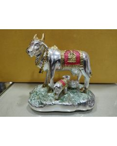 Cow & Calf Gold-(avvu and dhooda) and silver and Gold Coated- 4 inch